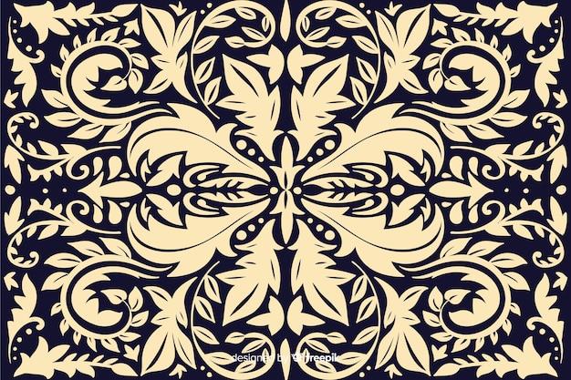 手描きの有機ダマスク織の背景 無料ベクター