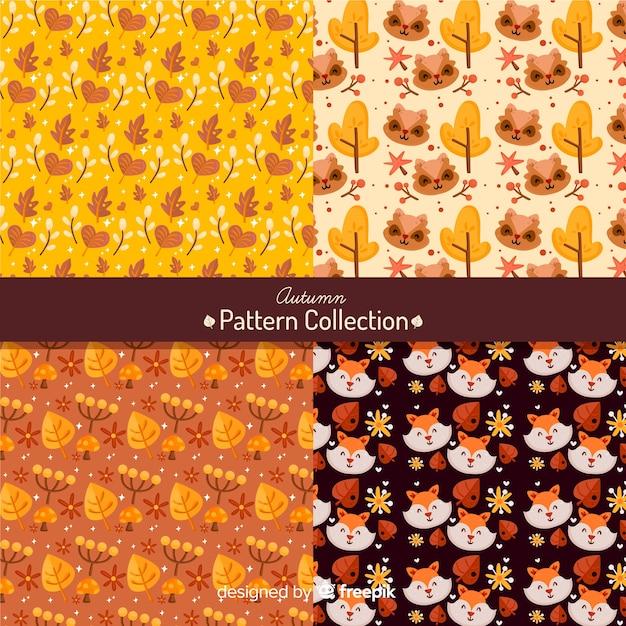 Осенняя коллекция шаблонов плоский стиль Бесплатные векторы