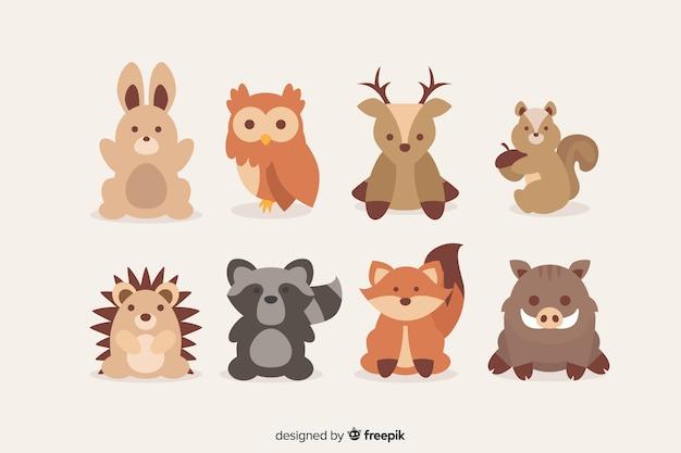 秋の森の動物フラットデザイン 無料ベクター
