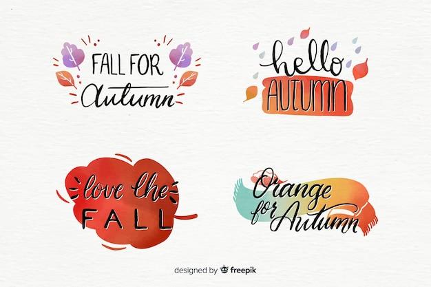 水彩画の秋のバッジのコレクション 無料ベクター