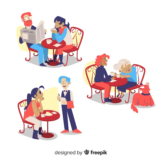 カフェのフラットデザインに座っている人 無料ベクター