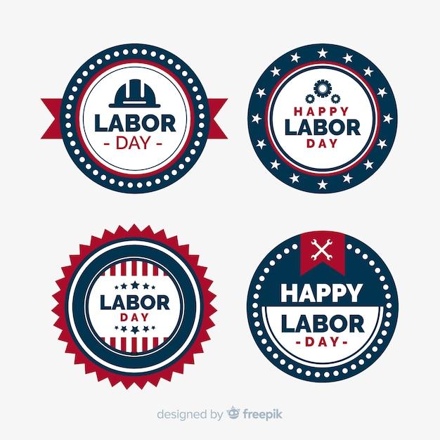 フラットスタイルのアメリカ労働日バッジコレクション 無料ベクター