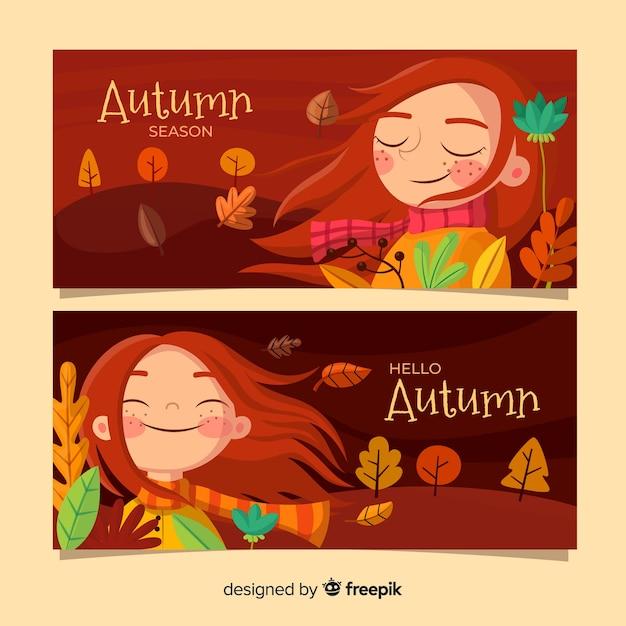 平らな秋のバナーのパック 無料ベクター