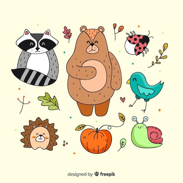 手描き秋の森の動物 無料ベクター