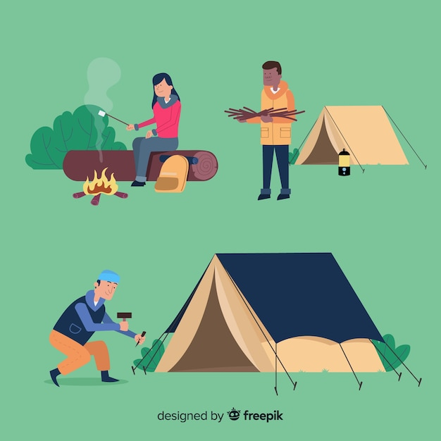 山でキャンプをする人 無料ベクター