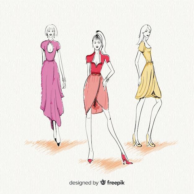 Три модные женские модели позируют, эскиз стиля Бесплатные векторы