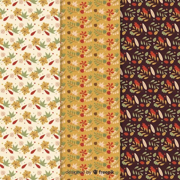 秋のパターンコレクションフラットデザイン 無料ベクター
