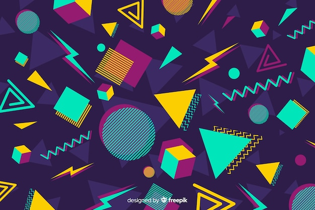 ヴィンテージのカラフルな幾何学的形状の背景 無料ベクター