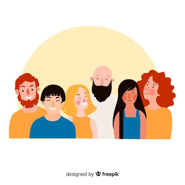 幸せな人々の笑顔の多民族グループ 無料ベクター