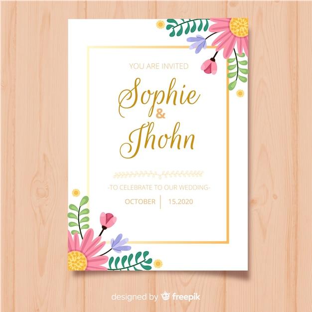 花のフレームの招待状カードのテンプレート 無料ベクター