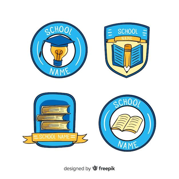 学校や個人教師用のロゴやバッジのセット 無料ベクター