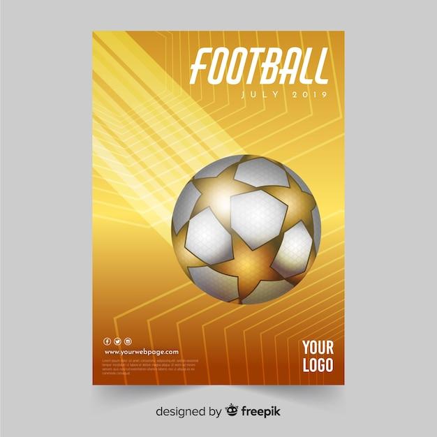 Футбольный плакат шаблон или дизайн флаера Бесплатные векторы