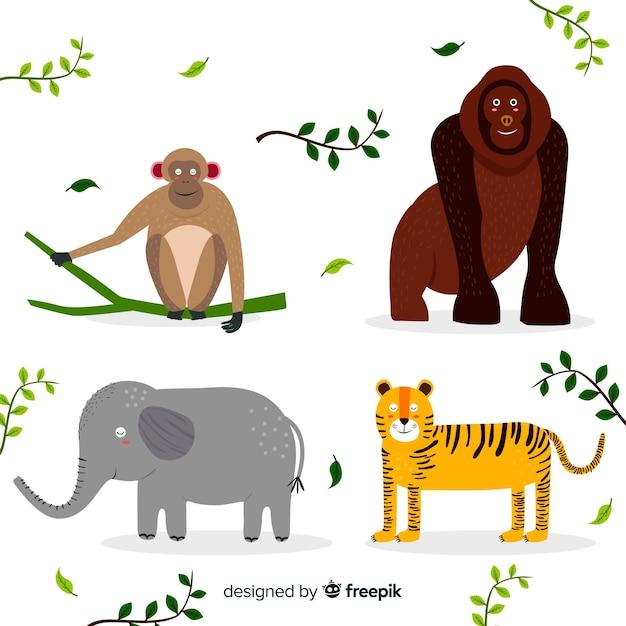 熱帯動物のセット:サル、ゴリラ、ゾウ、トラ。フラットスタイルデザイン 無料ベクター