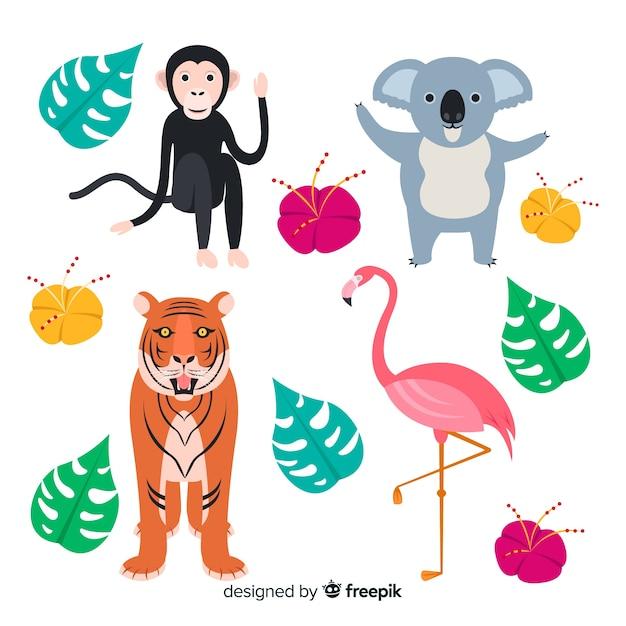 熱帯動物のセット:サル、コアラ、トラ、フラミンゴ。フラットスタイルデザイン 無料ベクター