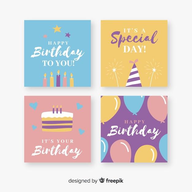 お誕生日おめでとうカードのコレクション 無料ベクター