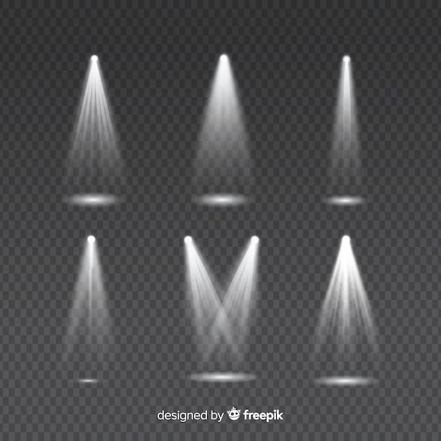 透明の白い照明照明のための光線のセット 無料ベクター