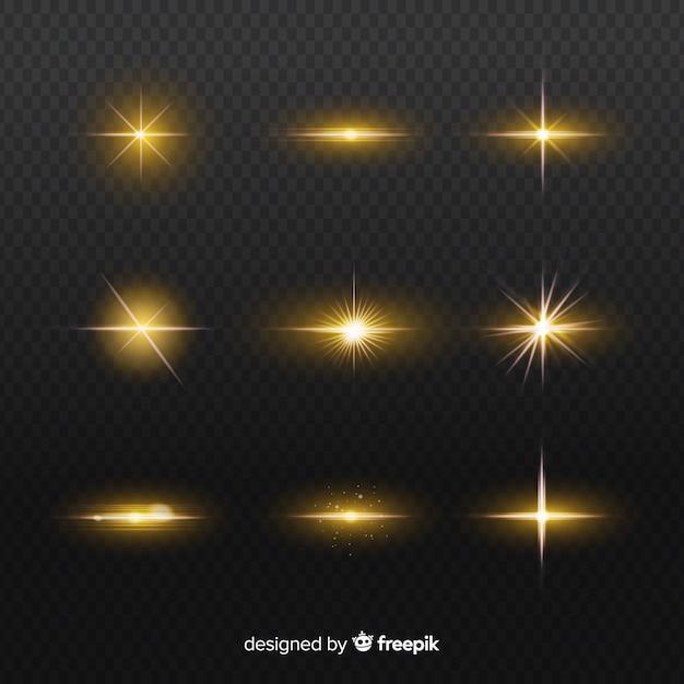 Набор реалистичных вспышек светового эффекта Бесплатные векторы
