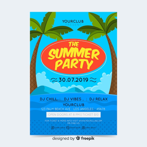 夏のパーティーのポスターやチラシテンプレートを印刷する準備ができて 無料ベクター