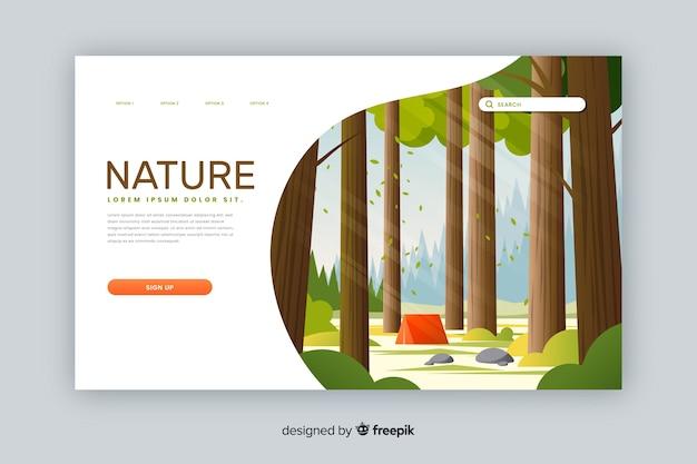 自然着陸ページのテンプレート 無料ベクター