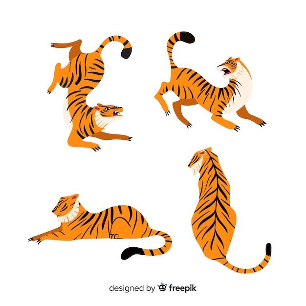 Набор тигров в мультяшном стиле в разных позах Бесплатные векторы
