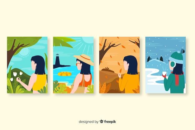 季節のポスターの手描きコレクション 無料ベクター