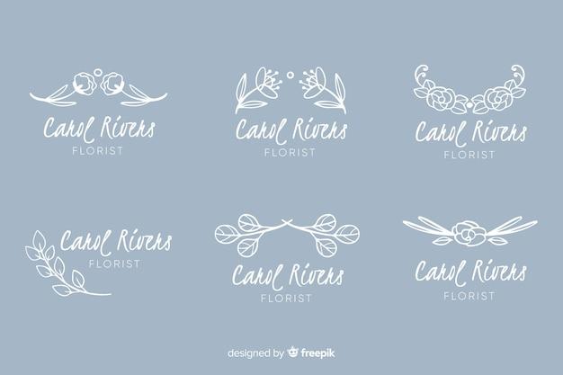 Коллекция логотипов для свадебного флориста Бесплатные векторы