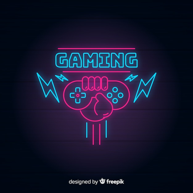 ネオンライトビンテージゲームロゴ 無料ベクター