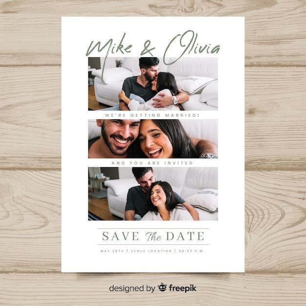 写真付きの結婚式の招待カード 無料ベクター