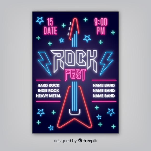 Шаблон плаката музыкального фестиваля неоновых огней Бесплатные векторы