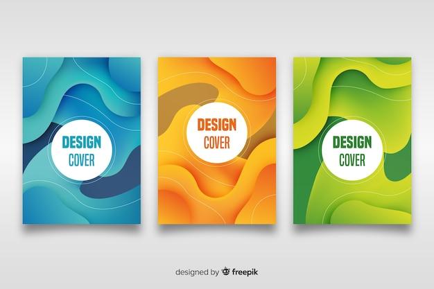 抽象的なデザインセットの表紙のテンプレート 無料ベクター