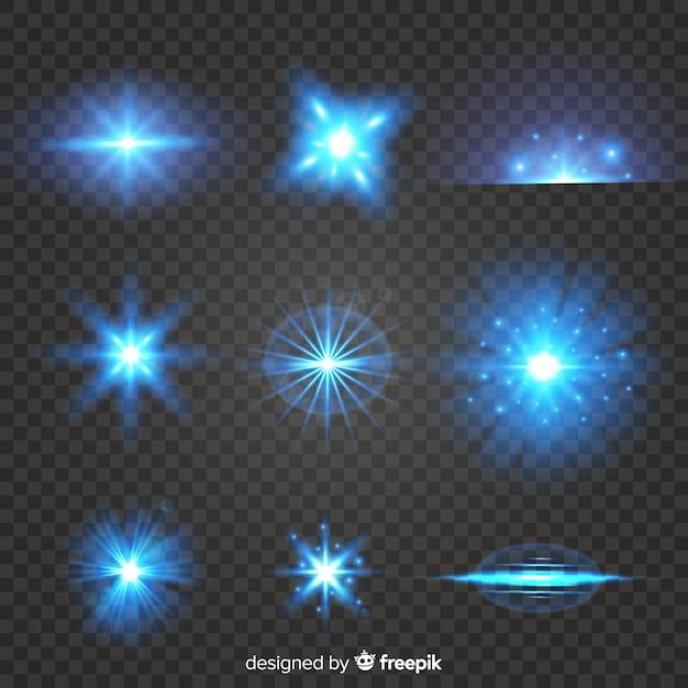 光の効果の現実的なバーストのセット 無料ベクター