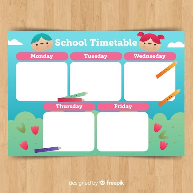 学校の時刻表テンプレートに戻る 無料ベクター