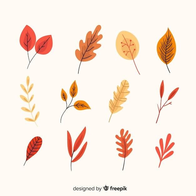 手描き秋の森の葉のコレクション 無料ベクター