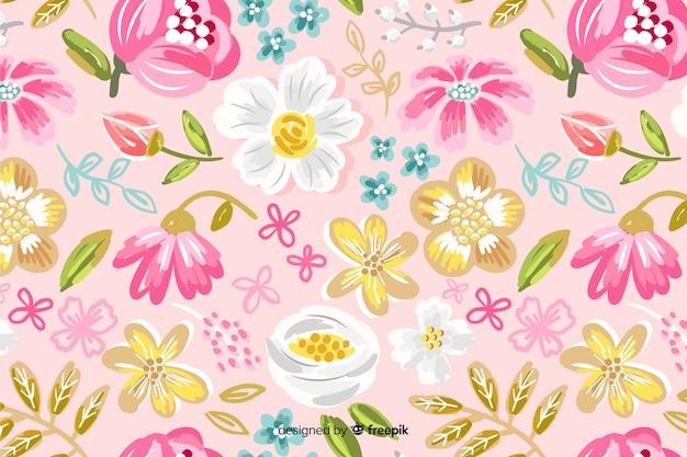 Фон с красочными нарисованными цветами Бесплатные векторы