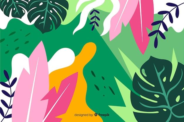 フラットスタイルのデザインで植物と葉の組成と熱帯の背景 無料ベクター