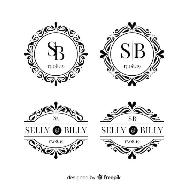Коллекция монограмм свадебных логотипов Бесплатные векторы