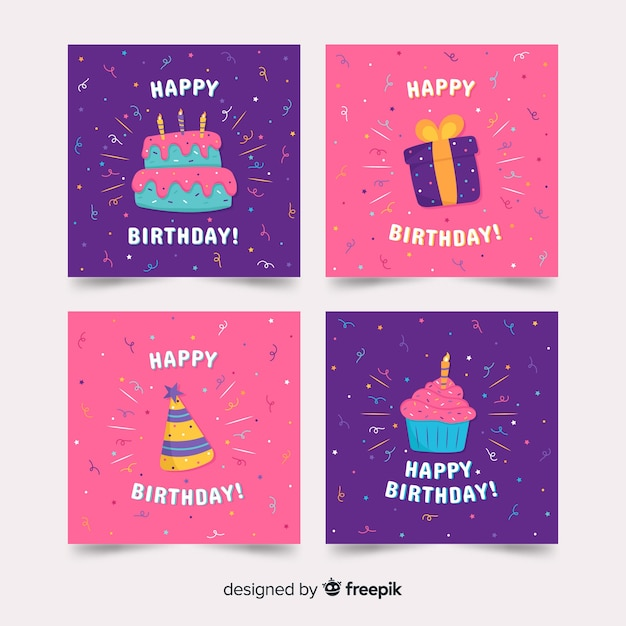 Коллекция открыток с днем рождения Бесплатные векторы