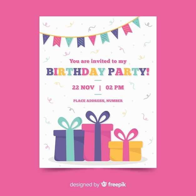 お誕生日おめでとうパーティーの招待状のテンプレート 無料ベクター