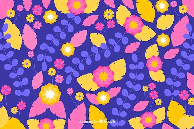 色とりどりの花の美しい背景 無料ベクター