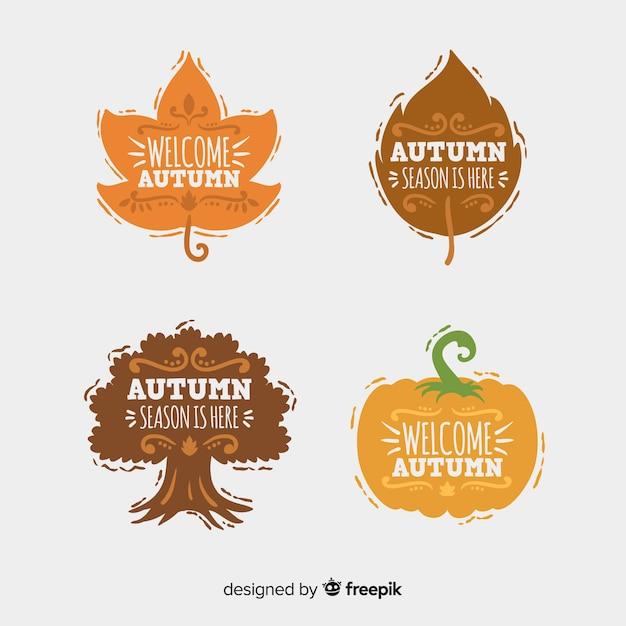 平らな秋のラベルのコレクション 無料ベクター