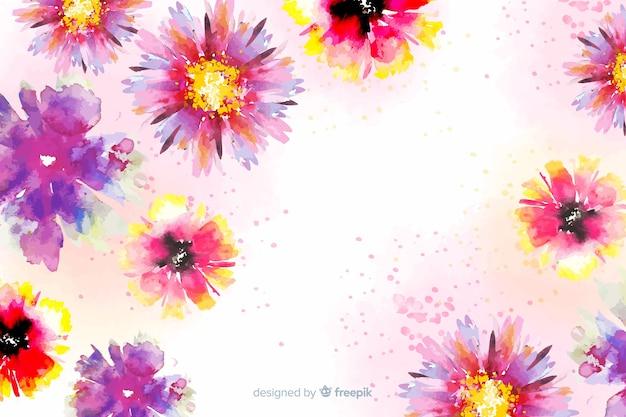 カラフルな塗られた花の背景 無料ベクター