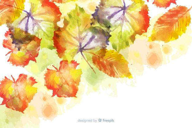 水彩グラデーション秋の葉の背景 無料ベクター