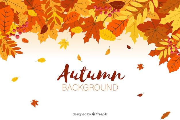 平らな秋の森の葉の背景 無料ベクター