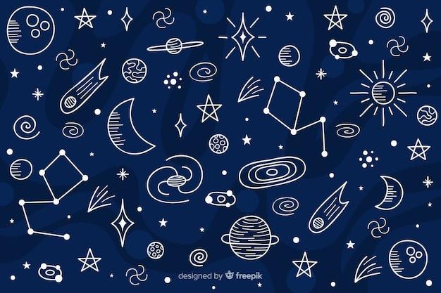 手描きの宇宙背景 無料ベクター