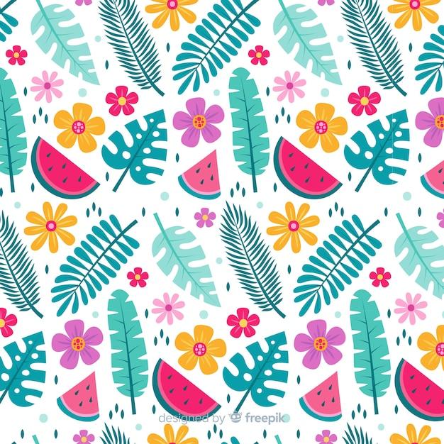 Плоский тропический цветок и листья Бесплатные векторы