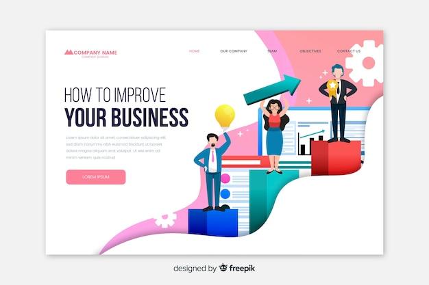 ビジネス用ランディングページテンプレート 無料ベクター
