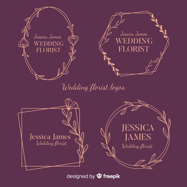 結婚式の花屋のロゴ集 無料ベクター