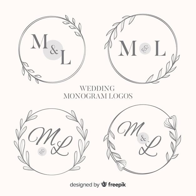 モノグラムの結婚式のロゴ集 無料ベクター