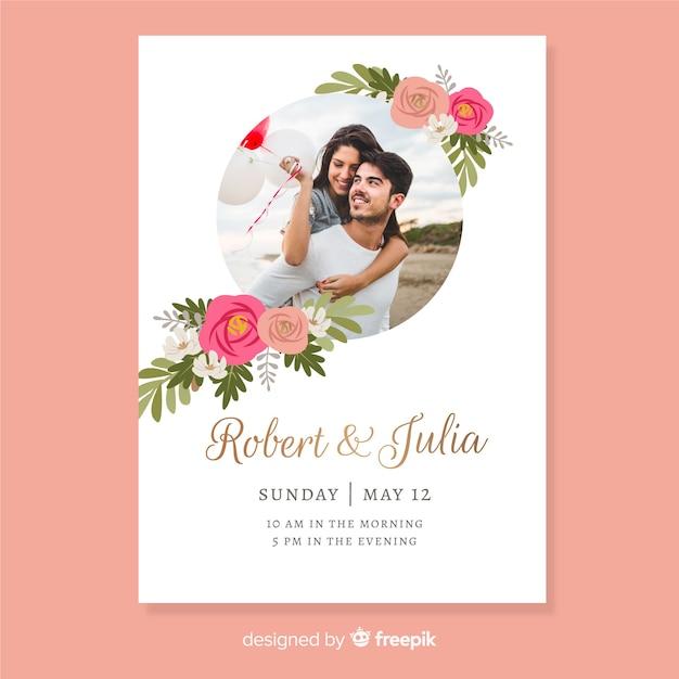写真付きの美しい結婚式の招待状のテンプレート 無料ベクター