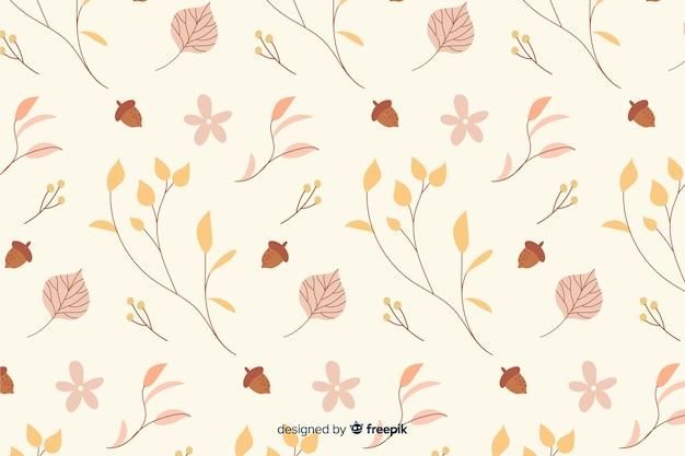 手描きの葉秋の背景 無料ベクター